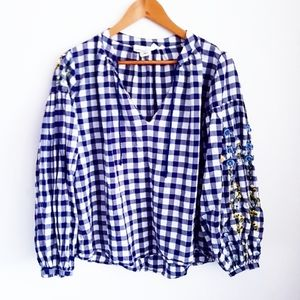 H&M L.O.G.O Blue Gingham Floral Embroidered Top